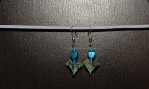 Origami Blue Heart Earrings