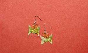 Origami Green Butterfly Earrings