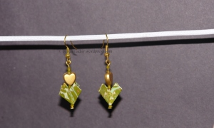 Origami Green Heart Earrings