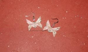 Origami Pink Butterfly Earrings