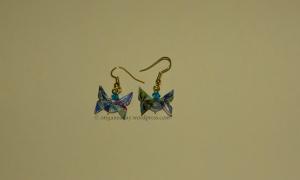 Origami Blue Green Butterfly Earrings