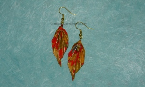 Origami Golden Leaf Earrings