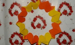 Origami Heart Wreath in Hearts